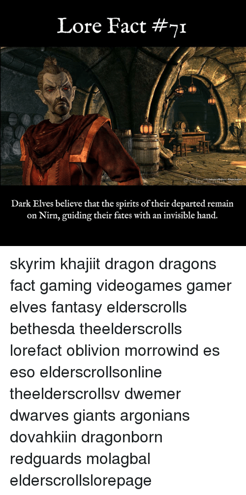 Memes, Skyrim, and Giants: Lore Fact # 1  Dark Elves believe that the spirits of their departed remain  on Nirn, guiding their fates with an invisible hand. skyrim khajiit dragon dragons fact gaming videogames gamer elves fantasy elderscrolls bethesda theelderscrolls lorefact oblivion morrowind es eso elderscrollsonline theelderscrollsv dwemer dwarves giants argonians dovahkiin dragonborn redguards molagbal elderscrollslorepage