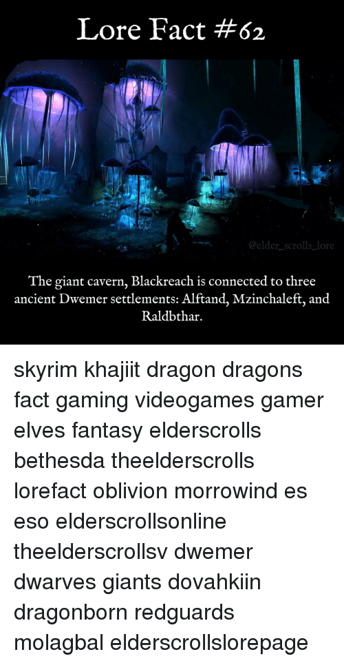 Memes, Connected, and Giant: Lore Fact #62  elder scrolls lor  The giant cavern, Blackreach is connected to three  ancient Dwemer settlements: Alftand, Mzinchaleft, and  Raldbthar. skyrim khajiit dragon dragons fact gaming videogames gamer elves fantasy elderscrolls bethesda theelderscrolls lorefact oblivion morrowind es eso elderscrollsonline theelderscrollsv dwemer dwarves giants dovahkiin dragonborn redguards molagbal elderscrollslorepage