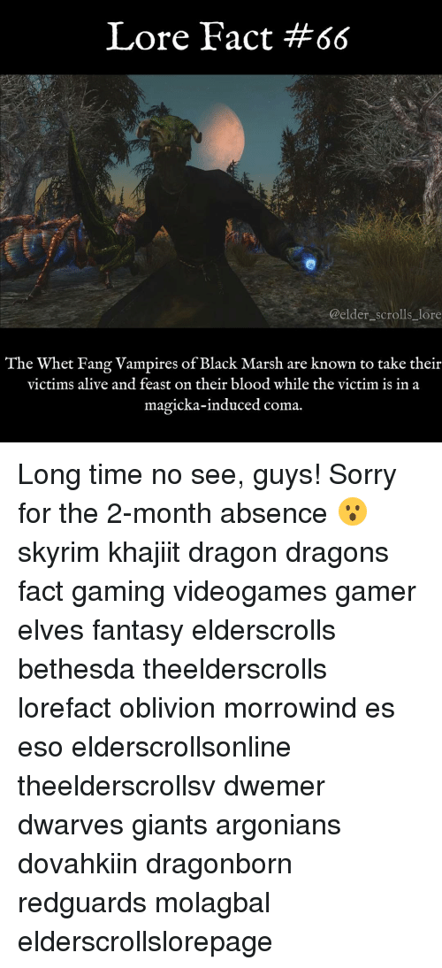 Alive, Bloods, and Memes: Lore Fact #66  @elder scrolls lore  The Whet Fang Vampires of Black Marsh are known to take their  victims alive and feast on their blood while the victim is in a  magicka-induced coma. Long time no see, guys! Sorry for the 2-month absence 😮 skyrim khajiit dragon dragons fact gaming videogames gamer elves fantasy elderscrolls bethesda theelderscrolls lorefact oblivion morrowind es eso elderscrollsonline theelderscrollsv dwemer dwarves giants argonians dovahkiin dragonborn redguards molagbal elderscrollslorepage