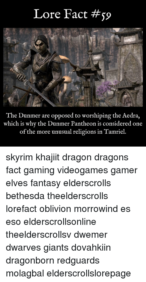 Memes, Giant, and Giants: Lore Fact  @elder scrolls lore  The Dunmer are opposed to worshiping the Aedra,  which is why the Dunmer Pantheon is considered one  of the more unusual religions in Tamriel skyrim khajiit dragon dragons fact gaming videogames gamer elves fantasy elderscrolls bethesda theelderscrolls lorefact oblivion morrowind es eso elderscrollsonline theelderscrollsv dwemer dwarves giants dovahkiin dragonborn redguards molagbal elderscrollslorepage