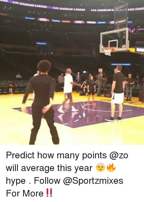 Hype, Los Angeles Lakers, and Los-Angeles-Lakers: LoS  ANGELES LAKERS LOS ANGELES LAKERS LoS  ANGELES LERE LOS ANGE  LTA Predict how many points @zo will average this year 🤕🔥 hype . Follow @Sportzmixes For More‼️