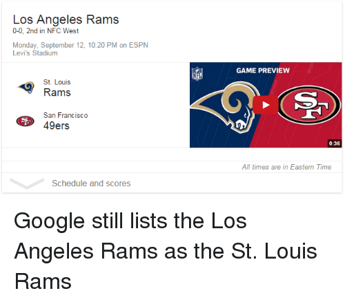1230bd67 Los Angeles Rams 0-0 2nd in NFC West Monday September 12 1020 PM on ...