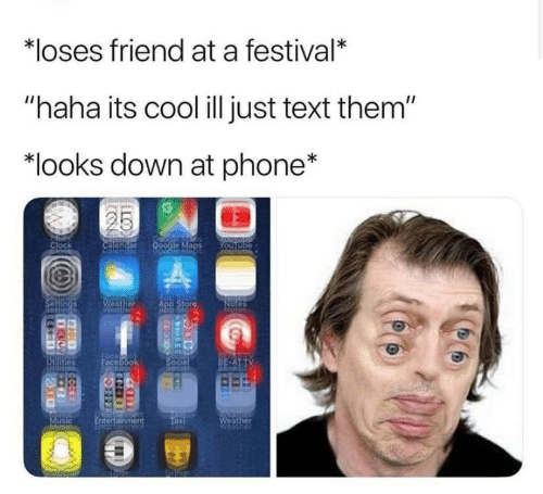 """Clock, Phone, and Cool: *loses friend at a festival*  """"haha its cool ill just text them""""  """"looks down at phone*  Clock  ADP Stor"""