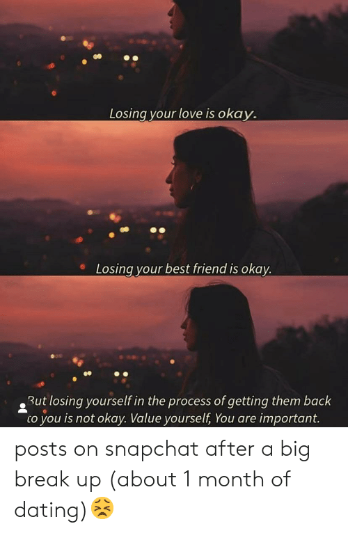 Best Friend, Dating, and Love: Losing your love is okay.  Losing your best friend is okay.  But losing yourself in the process of getting them back  to you is not okay. Value yourself, You are important. posts on snapchat after a big break up (about 1 month of dating)😣