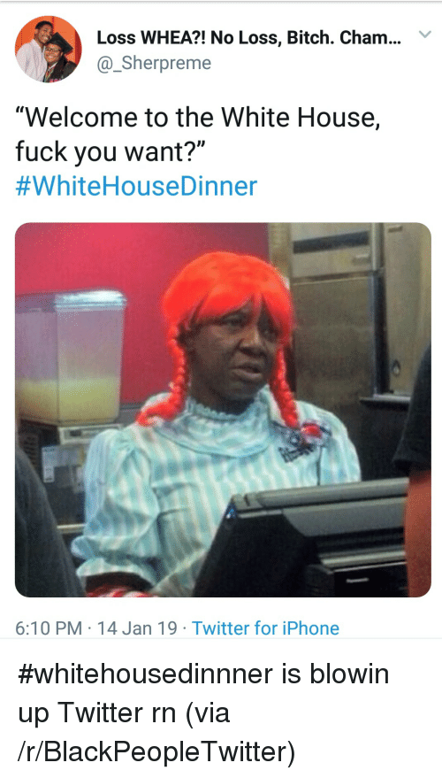 """Bitch, Blackpeopletwitter, and Fuck You: Loss WHEA?! No Loss, Bitch. Cham..Y  @Sherpreme  """"Welcome to the White House,  fuck you want?""""  #WhiteHouseDinner  6:10 PM 14 Jan 19 Twitter for iPhone #whitehousedinnner is blowin up Twitter rn (via /r/BlackPeopleTwitter)"""