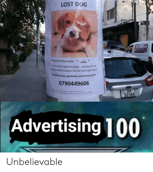 "Lost, Dog, and Grammar: LOST DOG  He goes by the name""  f you can't read his name , because it's an  Arabic name! Contact me for learning Arabic:  ronunciation, grammar and conversation  Pr  0790449606  32388  Advertising 100 Unbelievable"