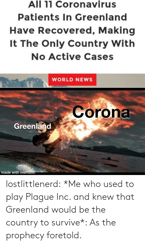 Tumblr, Blog, and Chat: lostlittlenerd: *Me who used to play Plague Inc. and knew that Greenland would be the country to survive*: As the prophecy foretold.