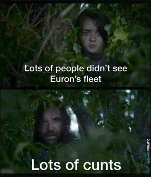 Game of Thrones, Lots, and People: Lots of people didn't see  Euron's fleet  Lots of cunts
