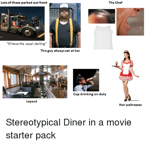 "Drinking, Starter Packs, and Chef: Lots of these parked out front  The Chef  ""Il have the usual darling""  This guy always sat at bar  Cop drinking on duty  Layout  Hot waitresses"