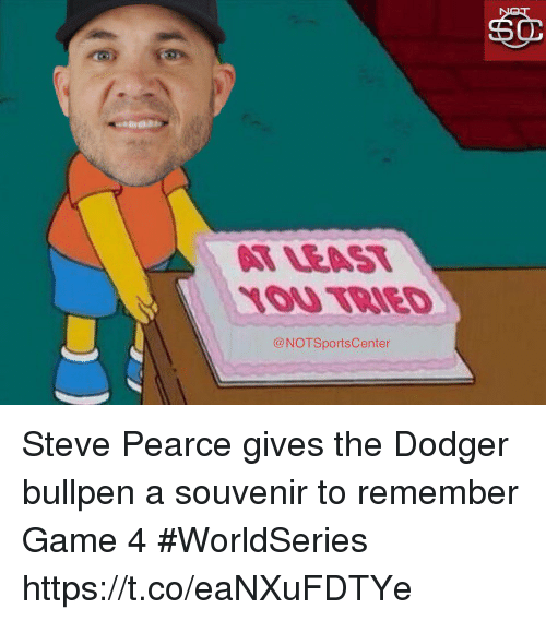 Sports, Game, and Steve: LOU TRIED  @NOTSportsCenter Steve Pearce gives the Dodger bullpen a souvenir to remember Game 4 #WorldSeries https://t.co/eaNXuFDTYe