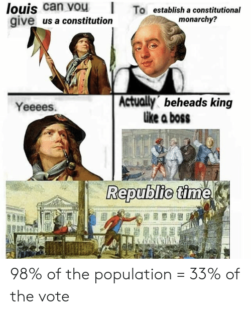 Constitution, History, and Monarchy: louis  can  vou  To  establis  establish a constitutional  monarchy?  give us a constitution  Yeeees.  Actually beheads king  ike a boss  Republic 98% of the population = 33% of the vote