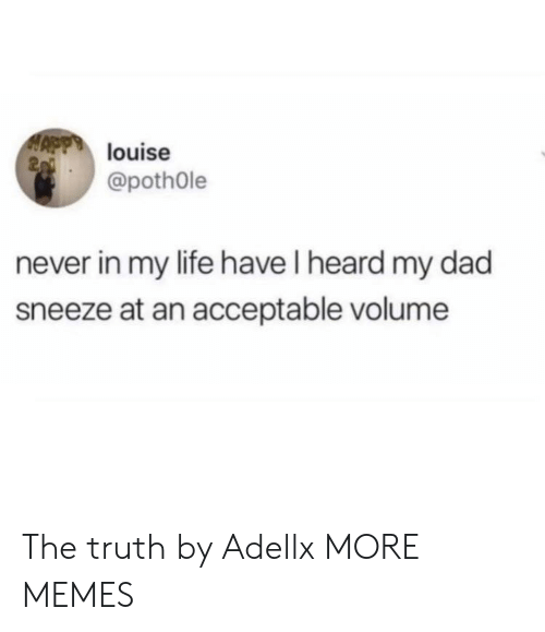 Dad, Dank, and Life: louise  2  @pothOle  never in my life have I heard my dad  sneeze at an acceptable volume The truth by Adellx MORE MEMES