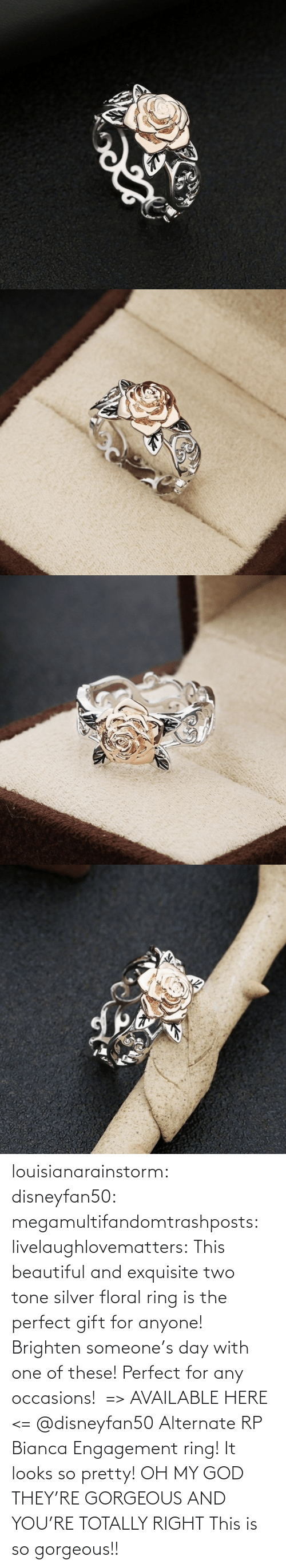 Beautiful, Gif, and God: louisianarainstorm: disneyfan50:  megamultifandomtrashposts:  livelaughlovematters:  This beautiful and exquisite two tone silver floral ring is the perfect gift for anyone! Brighten someone's day with one of these! Perfect for any occasions! => AVAILABLE HERE <=    @disneyfan50 Alternate RP Bianca Engagement ring! It looks so pretty!  OH MY GOD THEY'RE GORGEOUS AND YOU'RE TOTALLY RIGHT    This is so gorgeous!!