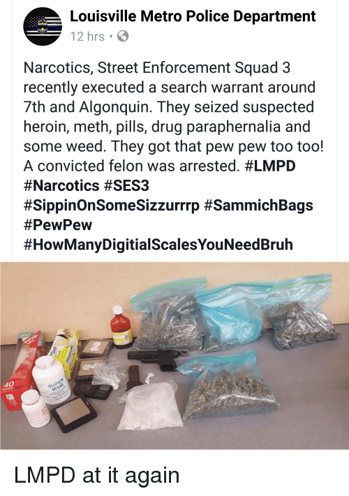 Louisville Metro Police Department 12hrs Narcotics Street