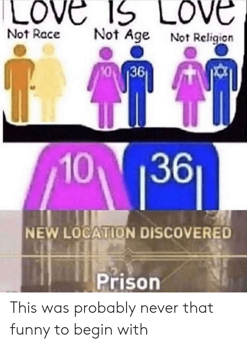 Funny, Love, and Prison: LOVE 1S LOVE  Not Age Not Religion  Not Race  36  10 1361  NEW LOCATION DISCOVERED  Prison This was probably never that funny to begin with