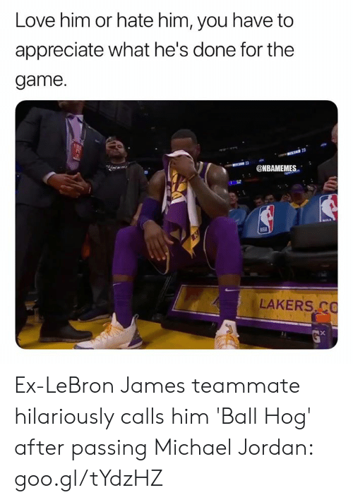 Los Angeles Lakers, LeBron James, and Love: Love him or hate him, you have to  appreciate what he's done for the  game.  MBAMEMES  LAKERS C Ex-LeBron James teammate hilariously calls him 'Ball Hog' after passing Michael Jordan: goo.gl/tYdzHZ