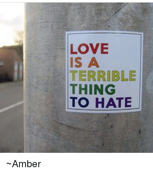 Love Memes And LOVE IS A TERRIBLE THING TO HATE Amber
