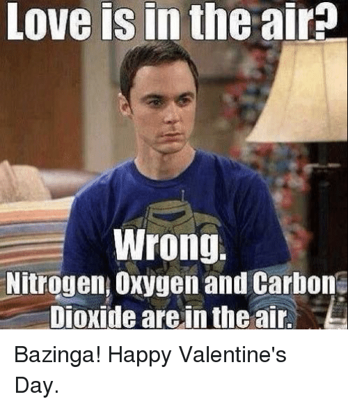 Love, Memes, and Valentine's Day: Love  is  in  the  air^  Wrong.  Nitrogen, Oxygen and Carhon  Dioxide are,in the air. Bazinga! Happy Valentine's Day.