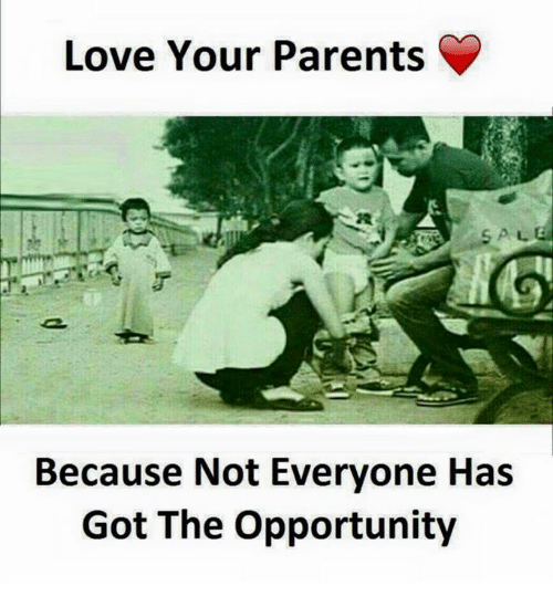 Love, Parents, and Opportunity: Love Your Parents  Because Not Everyone Has  Got The Opportunity