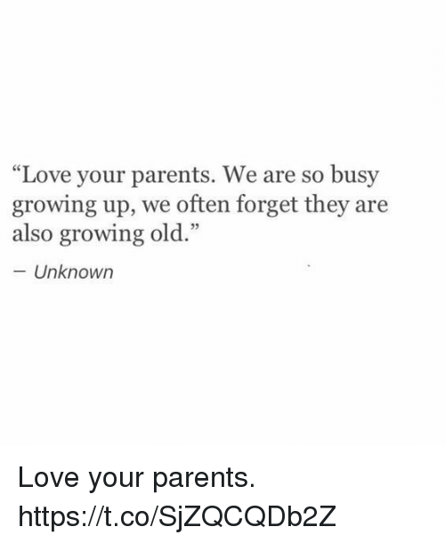 """Growing Up, Love, and Memes: """"Love your parents. We are so busy  growing up, we often forget they are  also growing old.""""  - Unknown Love your parents. https://t.co/SjZQCQDb2Z"""