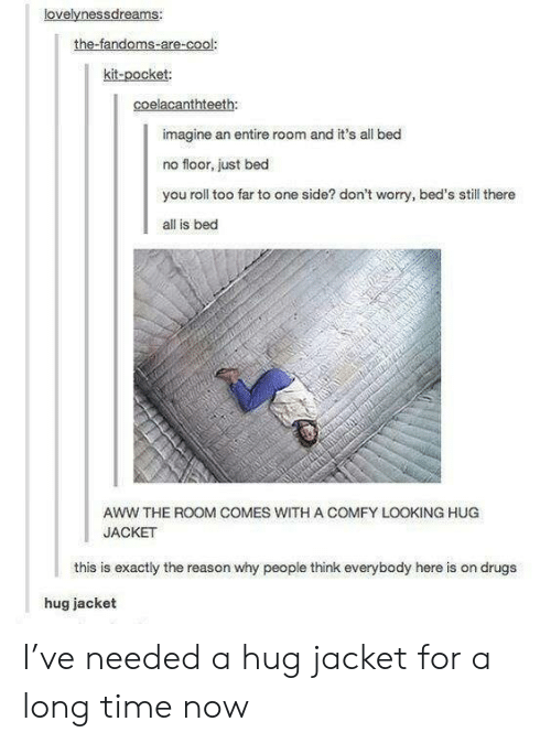 Aww, Drugs, and Cool: lovelvnessdreams:  the-fandoms-are-cool:  kit-pocket:  coelacanthteeth:  imagine an entire room and it's all bed  no floor, just bed  you roll too far to one side? don't worry, bed's still there  all is bed  AWW THE ROOM COMES WITH A COMFY LOOKING HUG  JACKET  this is exactly the reason why people think everybody here is on drugs  hug jacket I've needed a hug jacket for a long time now