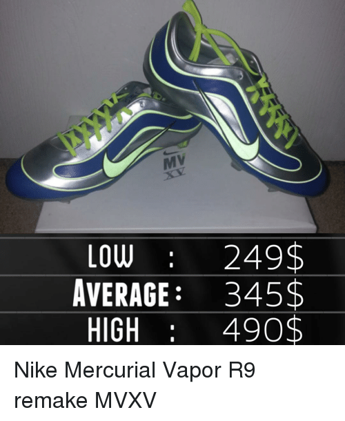 buy popular 7fcc4 7712f ... memes nike and lowes low 249 average 345 high 490. nike mercurial vapor  r9 remake