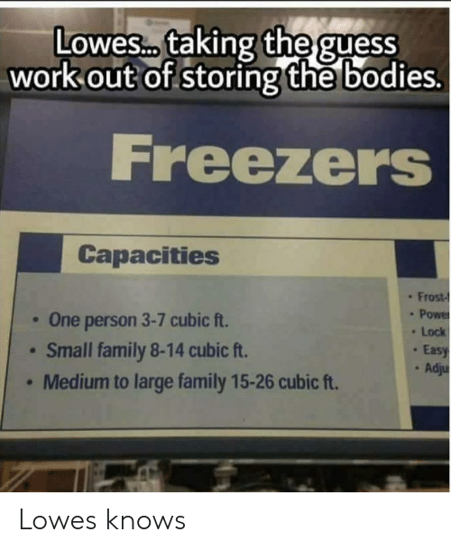 Bodies , Family, and Work: Lowes taking  the guess  work out of storing the bodies.  D00  Freezers  Capacities  One person 3-7 cubic ft.  Small family 8-14 cubic ft.  Medium to large family 15-26 cubic ft.  . Frost-  . Power  . Lock  Easy  . Adju Lowes knows