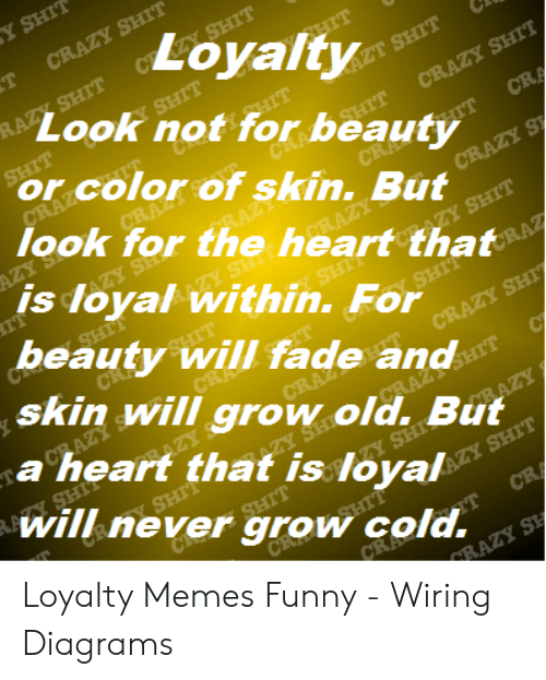 Loyalty Look Not for Beauty or Color of Skin but Look for