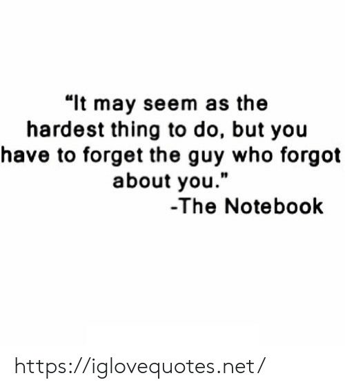 "Notebook, The Notebook, and Net: ""lt may seem as the  hardest thing to do, but you  have to forget the guy who forgot  about you.""  10  -The Notebook https://iglovequotes.net/"