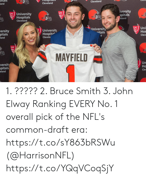 Memes, Cleveland, and Common: ltals  Cleveland  Cleveland  and  iversity  spitals  eland  University  Hospitals  Cleveland  H Uni  Hos  Cleve  University  University  ersity  nitals  Hospita'  Clevela  pitals  land  UH  MAYFIELD  Un  Ho  Cle  versit  pitals  eland 1. ????? 2. Bruce Smith 3. John Elway  Ranking EVERY No. 1 overall pick of the NFL's common-draft era: https://t.co/sY863bRSWu (@HarrisonNFL) https://t.co/YQqVCoqSjY