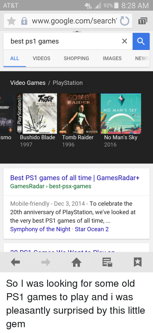LTE 92% 828 AM AT&T a Wwwgooglecomsearch O Best Ps1 Games ALL NEWS