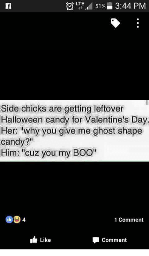 """Boo, Candy, and Halloween: LTE.d 5196  3:44 PM  Side chicks are getting leftover  Halloween candy for Valentine's Day.  Her: """"why you give me ghost shape  candy?""""  Him: """"cuz you my BOO""""  1 Comment  Like  Comment"""