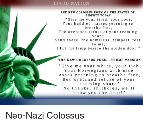 Lucid Nation The New Colossus Poem On The Statue Of Liberty