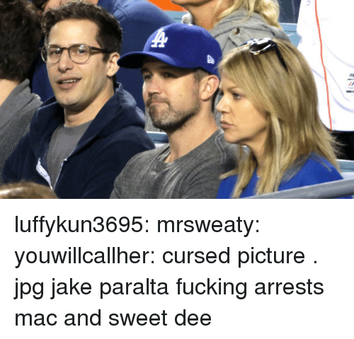 Fucking, Tumblr, and Blog: luffykun3695:  mrsweaty:   youwillcallher:  cursed picture . jpg  jake paralta fucking arrests mac and sweet dee