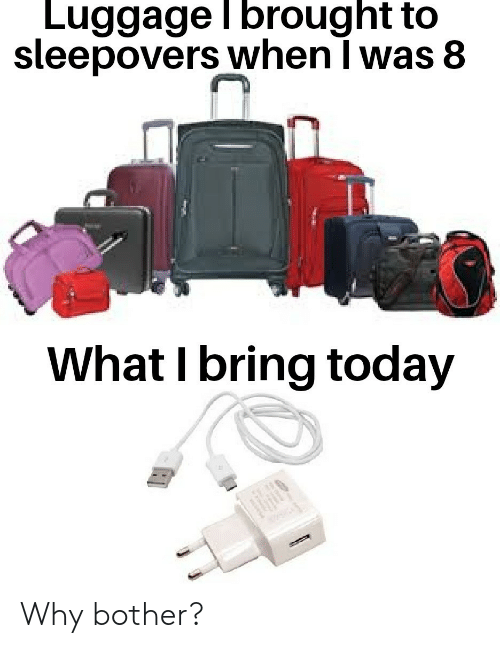 Luggage, Today, and Why: Luggage l brought to  sleepovers when I was 8  What I bring today Why bother?