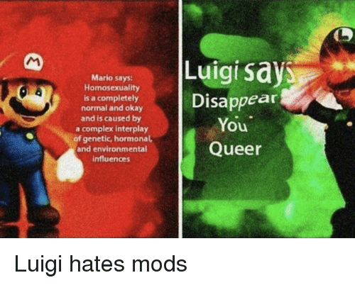 Luigi Says Mario Says Homosexuality Is A Completely Normal
