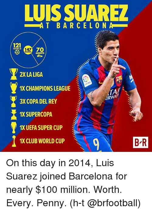Anaconda, Barcelona, and Club: LUIS SUAREZ  AT BARCELON  dal  121  GOALS  70  147  GAMES  ASSISTS  2X LA LIGA  IX CHAMPIONS LEAGUE  3X COPA DEL REY  1X SUPERCOPA  1X UEFA SUPER CUP  1X CLUB WORLD CUP  TA  JRWA》  BR  B R On this day in 2014, Luis Suarez joined Barcelona for nearly $100 million. Worth. Every. Penny. (h-t @brfootball)
