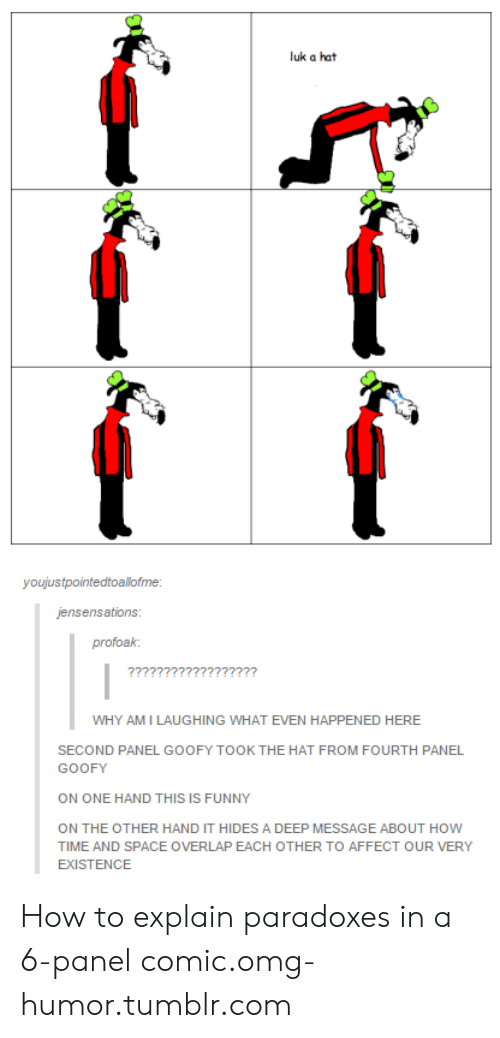 Funny, Omg, and Tumblr: luk a hat  youjustpointedtoallofme:  jensensations  profoak:  WHY AMI LAUGHING WHAT EVEN HAPPENED HERE  SECOND PANEL GOOFY TOOK THE HAT FROM FOURTH PANEL  GOOFY  ON ONE HAND THIS IS FUNNY  ON THE OTHER HAND IT HIDES A DEEP MESSAGE ABOUT HOW  TIME AND SPACE OVERLAP EACH OTHER TO AFFECT OUR VERY  EXISTENCE How to explain paradoxes in a 6-panel comic.omg-humor.tumblr.com