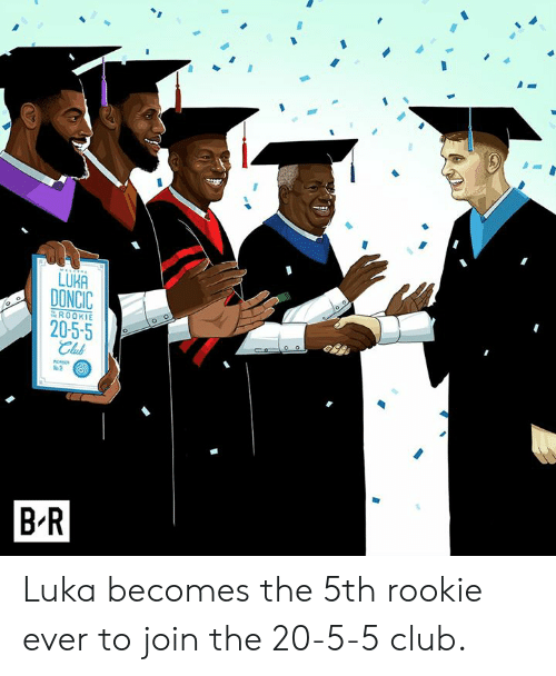 Club, Ever, and  Luka: LUKA  DONCIC  20-5-5  ROOKIE  Club  %2  B R Luka becomes the 5th rookie ever to join the 20-5-5 club.