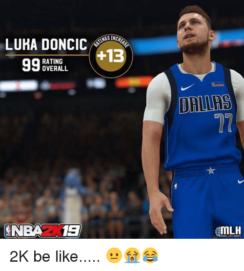 Be Like, Life, and Nba: LUKA DONCICSNGS INCO  9BE+13  RATING  OVERALL  5  SNBAZ1E  MORE LIFE HOOPS 2K be like..... 😐😭😂