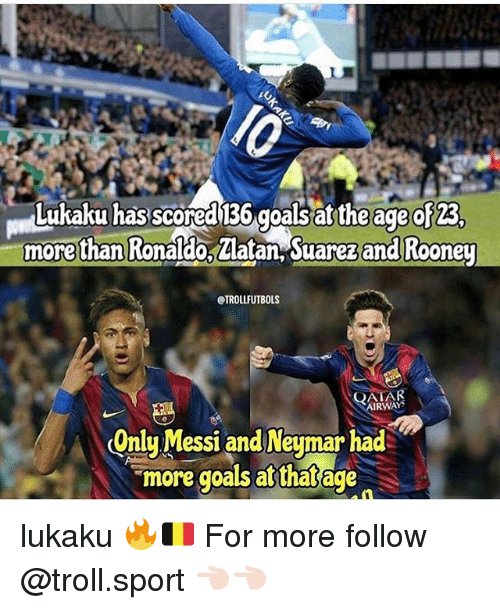 Goals, Memes, and Troll: Lukaku has scored 136 goals at the age of 23  morethan Ronaldo, Zlatan, Suarez and Rooney  @TROLLFUTBOLS  QATAR  RWAYS  Onlu Messi and Neumar had  more goals at that age lukaku 🔥🇧🇪 For more follow @troll.sport 👈🏻👈🏻