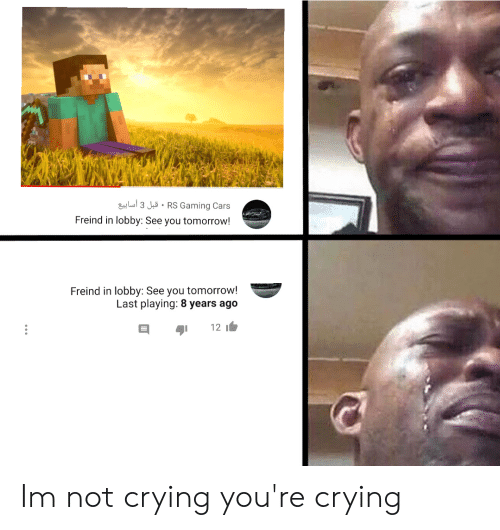 Cars, Crying, and Not Crying: lus3 JuRS Gaming Cars  Freind in lobby: See you tomorrow!  Freind in lobby: See you tomorrow!  Last playing: 8 years ago  12 Im not crying you're crying