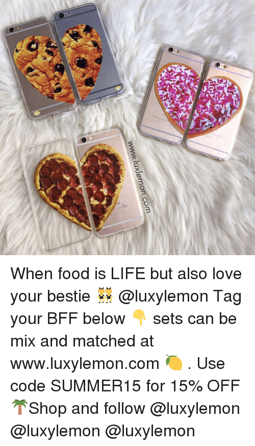 Food, Life, and Love: luxlemon.com  WWW, When food is LIFE but also love your bestie 👯 @luxylemon Tag your BFF below 👇 sets can be mix and matched at www.luxylemon.com 🍋 . Use code SUMMER15 for 15% OFF 🌴Shop and follow @luxylemon @luxylemon @luxylemon