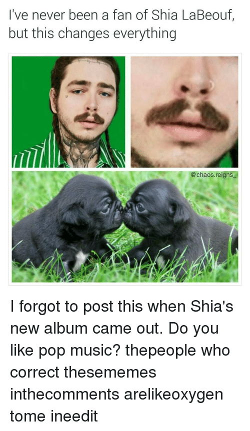 Memes, Music, and Pop: lve never been a fan of Shia La Beouf  but this changes everything  @ chaos.reians I forgot to post this when Shia's new album came out. Do you like pop music? thepeople who correct thesememes inthecomments arelikeoxygen tome ineedit