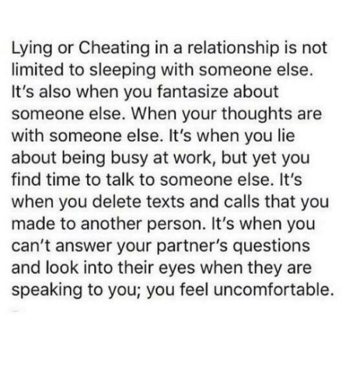 Lying or Cheating in a Relationship Is Not Limited to Sleeping With