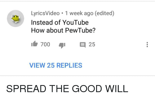 LyricsVideo 1 Week Ago Edited How About PewTube? 7001 Instead of