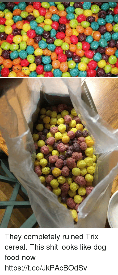Food, Funny, and Shit: m Berg photo They completely ruined Trix cereal. This shit looks like dog food now https://t.co/JkPAcBOdSv