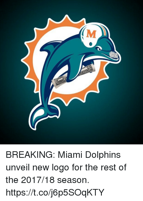 Miami Dolphins, Dolphins, and Hood: (M BREAKING: Miami Dolphins unveil new logo for the rest of the 2017/18 season. https://t.co/j6p5SOqKTY