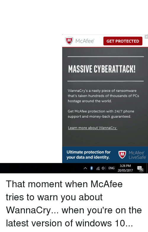 M McAfee GET PROTECTED MASSIVE CYBERATTACK! Wannacry's a
