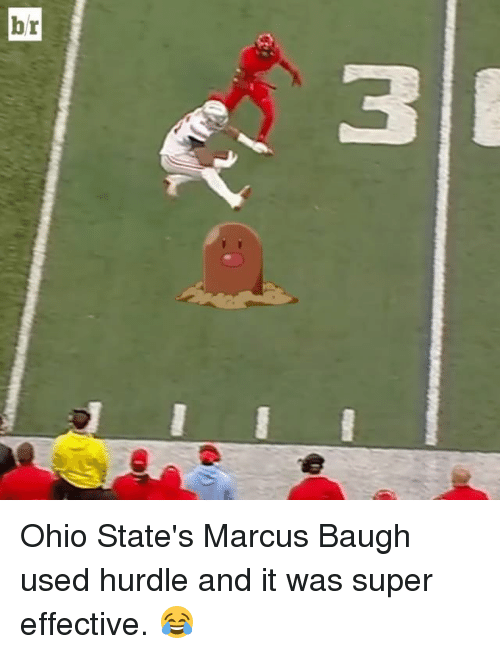 Sports, Ohio, and Super: M Ohio State's Marcus Baugh used hurdle and it was super effective. 😂